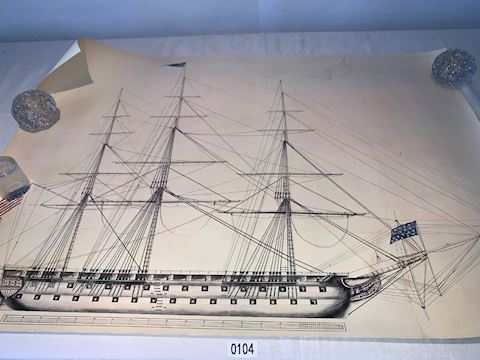 Lot 0104   US Ship Of The  Line Lithograph