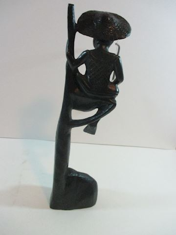 Oriental Vintage Wood Fisherman Statue