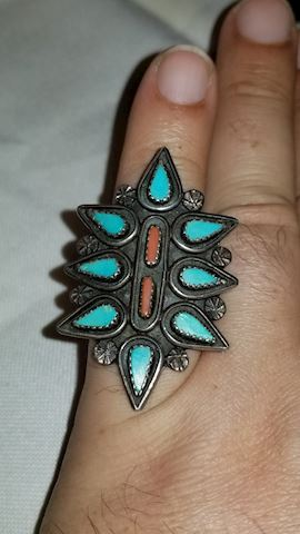 Turquoise/ coral bold ring