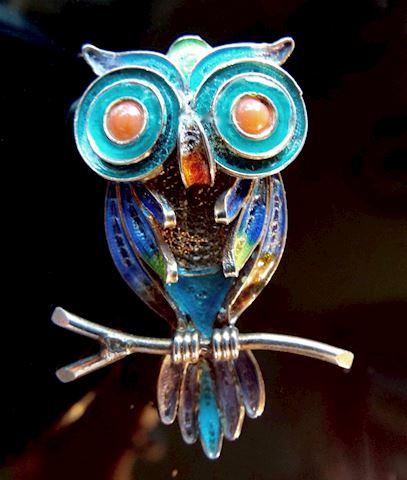 Vintage 800 Silver Wire Filigree Enamel Owl Brooch