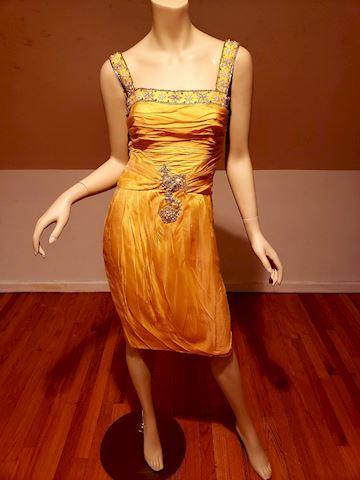 Vtg Silk Chiffon mbellished Toga ruched dress