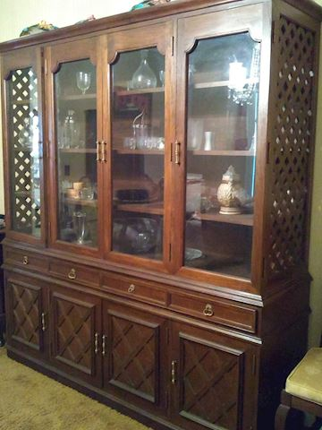 Beautiful wood hutch with touch lighting