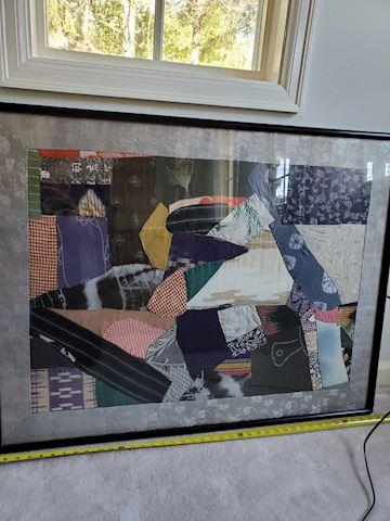 Framed abstract vintage silk Kimono art