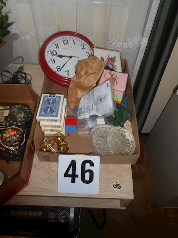 Lot #46 cards, clock, etc