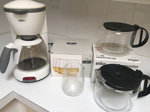 Lot of Kitchen Items Coffee Maker Glasses