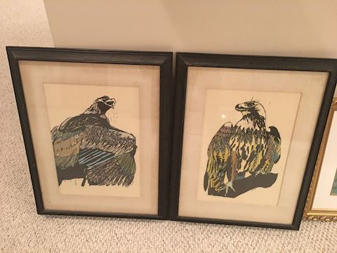 Vintage artwork - Pair of Eagle prints