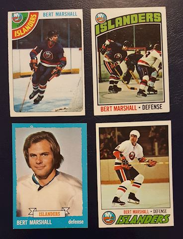 4 Vintage 1970's Bert Marshall Hockey Cards