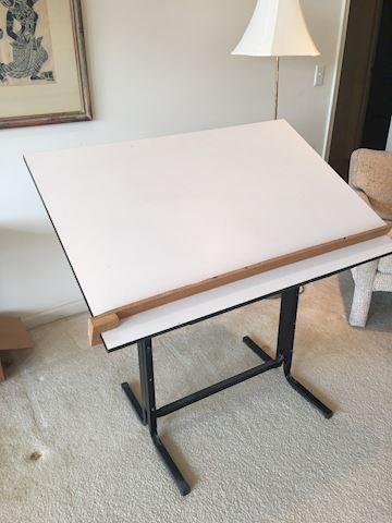 Adjustable Laminate & Black Metal Drafting Table