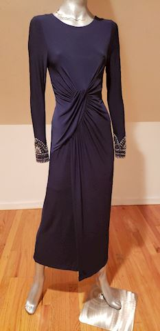 Vtg Vince Camuto Draped Embellished Maxi Dress
