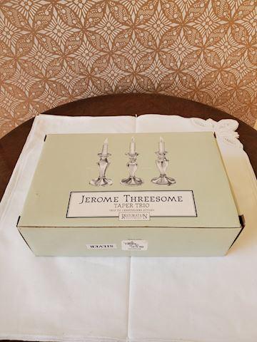 "Three pewter candle sticks in box ""Jerome Threesom"