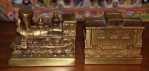 Vintage 1970's Heavy Brass Train Bookends