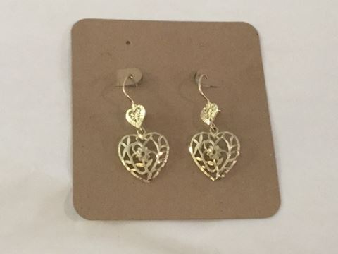 14 kt heart earrings