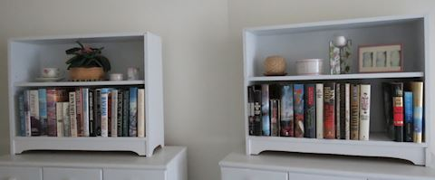 Pair of Matching Pine Painted White Book Shelfs