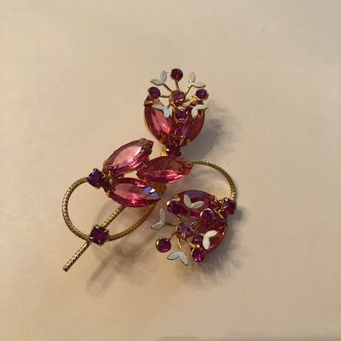 Vintage Gorgeous Pink Floral Brooch Pin