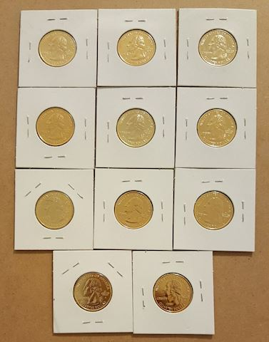 Collection of 11 BU Gold Plated State Quarters