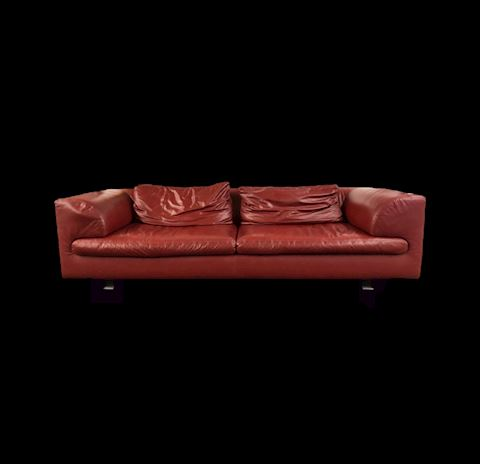 MID-CENTURY MODERN AUTHENTIC RED ROCHE BOBOIS SOFA