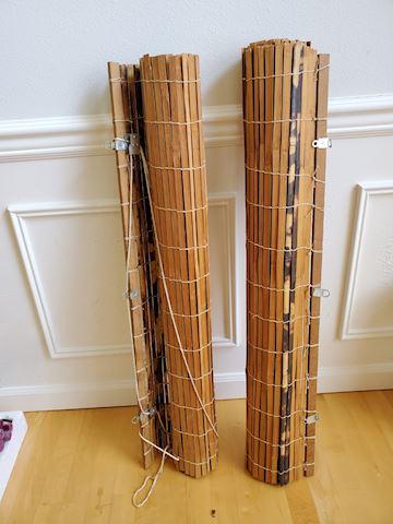 "2 Bamboo shades 37"" wide I-22"