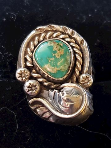 Size 6, Turquoise and silver ring
