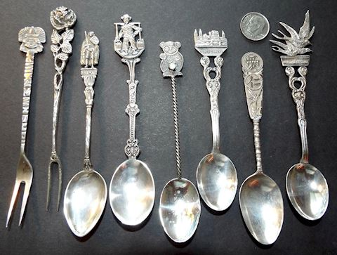 8 Vintage Souvenir Spoons & Picks, Most 800 Silver