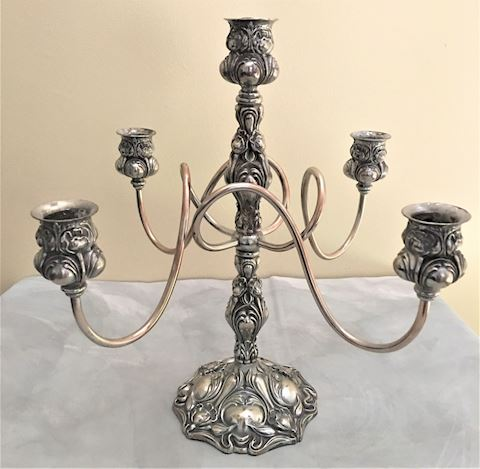 Antique Art Nouveau Silverplate Candleabra