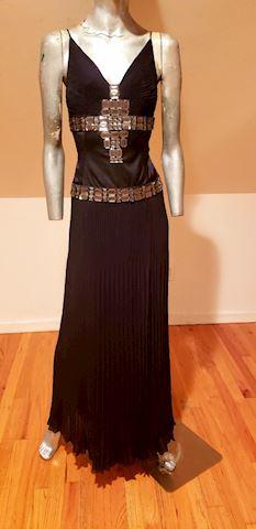 Roberto Cavali Jeweled Delphos Pleated Gown