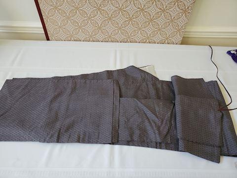 Grey patterned unlined silk Kimono