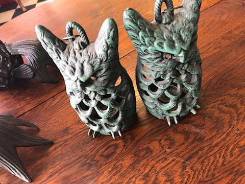Pair of Cast Iron Owl Candle holders