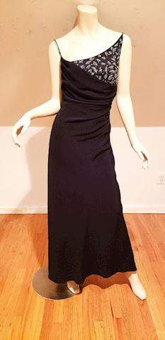 Vtg draped beaded dEsigner gown spaghetti straps