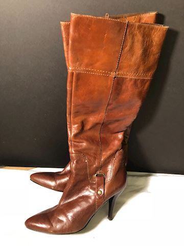 Nine West brown spike heel leather boots 7.5