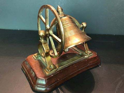 Vintage Brass Ship Bell With Mount Pulley Wheel