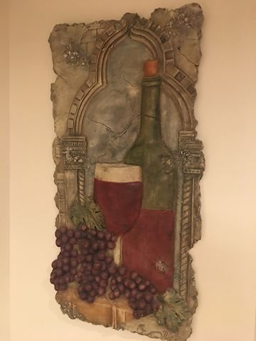 Resin wall art/ Wine Glass, bottle and grapes