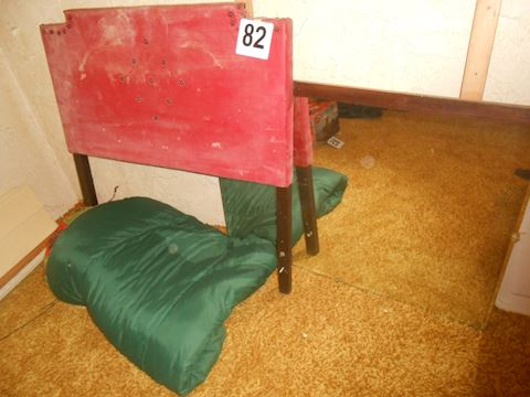 Lot #82 Vintage Twin headboard, sleeping bag