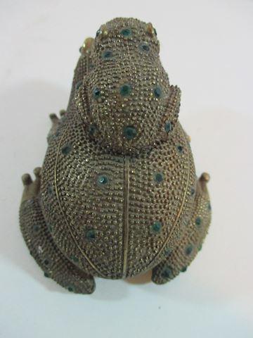 Vintage Emerald Rhinestone Frog /Baby Trinket Box
