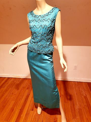 1950 Couture embellished silk shantung maxi gown