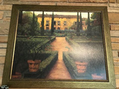 Contemporary framed print, villa & trees