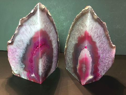 Pink Agate Geode Crystal Polished Quartz Bookends