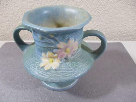 "1940 Cosmos Roseville Blue Vase 4"" 2 Handle"