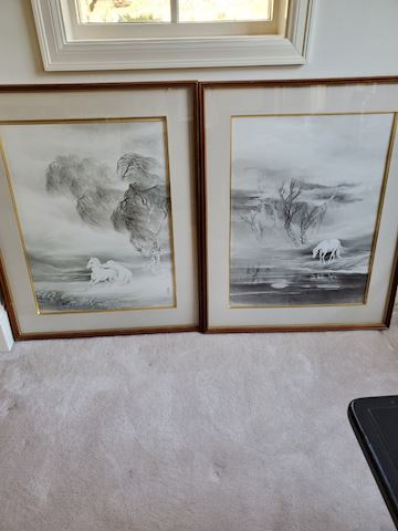 Pair of Japanese pen & ink drawing w/white horses