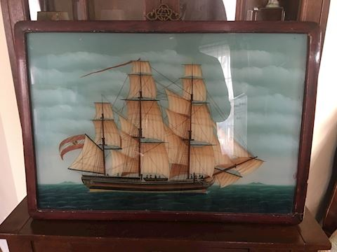 Vtg Chinese Reverse Glass Clipper Ship Painting