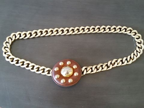 YVES ST. LAURENT GOLD CHAIN BELT W/BROWN CLASP