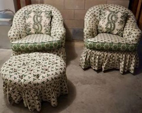 Pair of Clover Leaf Upholstered Chairs & Ottomon