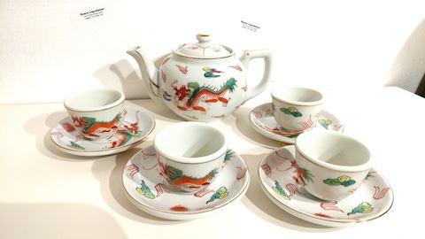 Antique Japanese Dragon Tea Set 22K GOLD Trim