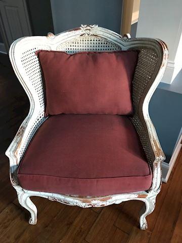 White Victorian cane chair
