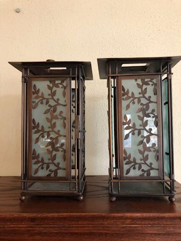 bronze lanterns with leaf design