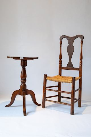 Lot 0009 Latter slat chair & side table w/Inlay