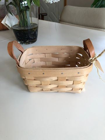 Longaberger basket with leather handles - small