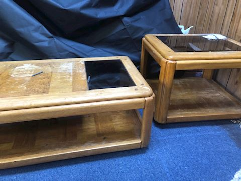 Coffee Table and End Table (wood and glass)