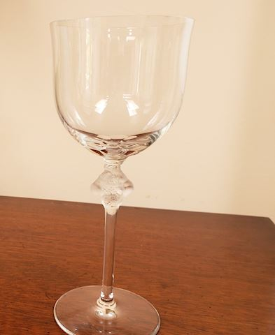 LALIQUE CRYSTAL TALL WATER WINE GOBLET ROXANE 8.5""