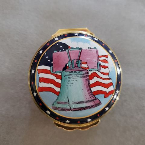 HALCYON DAYS TIFFANY LIBERTY BELL TRINKET BOX
