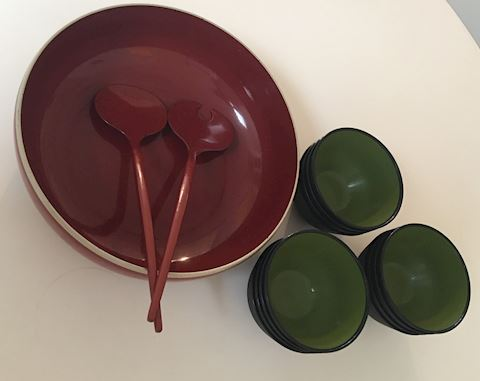 Retro Danish Swedish Salad Bowls & Servers